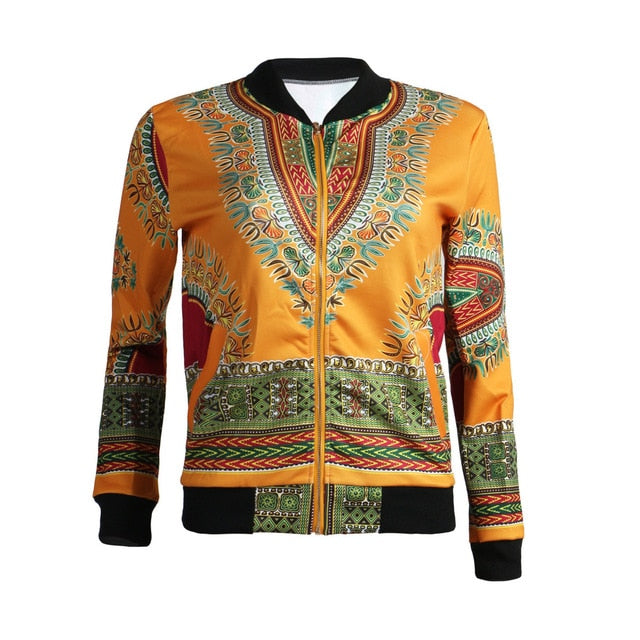 MUXU vintage Dashiki Fashion Jacket Africa Printing Loose Women Coat