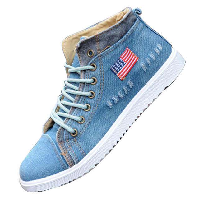 Men Shoes Low Canvas Denim Hollow Shoes Fashion Trend Casual
