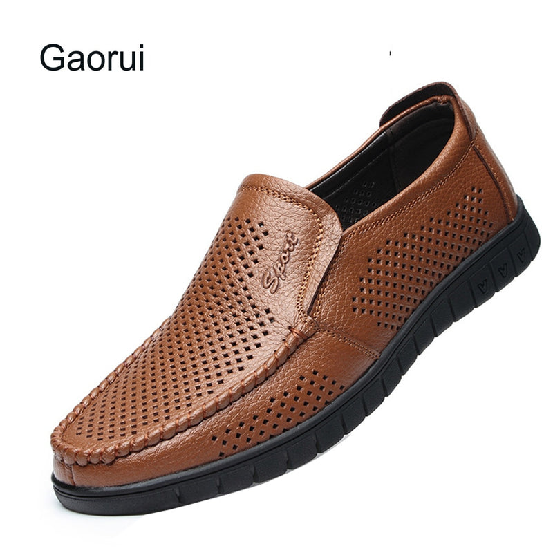 Gaorui Lether Casual Men Shoes Hollow Out Breathable Male Flates Slip On Loufers