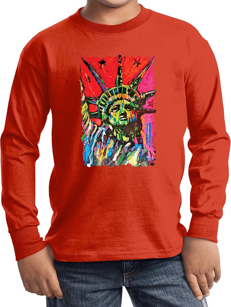Kids USA Statue of Liberty Painting Youth Long Sleeve, Orange