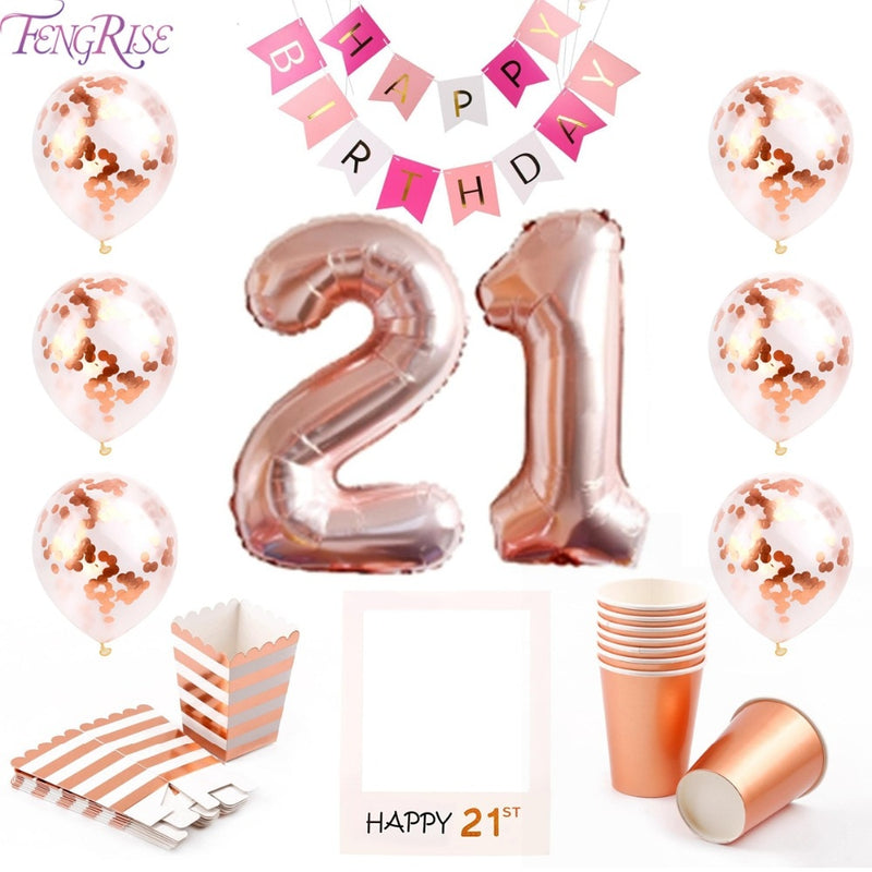 FENGRISE 21st Birthday Party Decorations 21