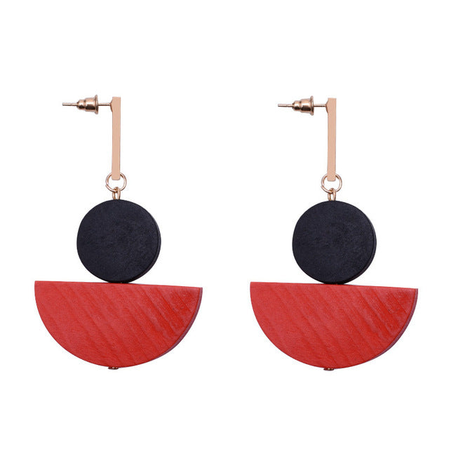 Wooden African Earrings Natural Wood Laser Cut Geometric Round Handmade