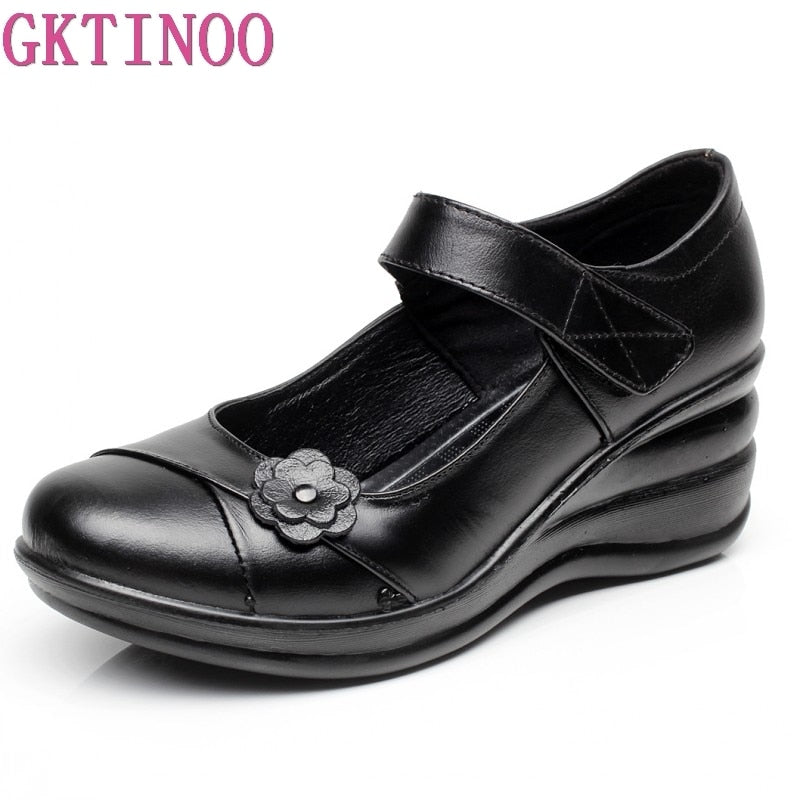 GKTINOO Genuine Leather Woman Platform Casual Shoes Chaussure Femme Wedges