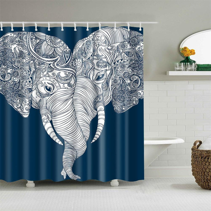 Bohemian Elephant Shower Curtain White and Navy Blue