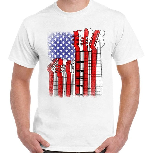 American Flag Men Guitarist T-Shirt