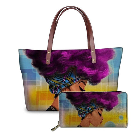 2pcs/set Women Handbags Black Art African Girl Printing Hand Bag&Wallets