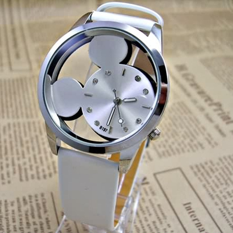Mickey Women Watches quartz casual transparent hollow dial leather