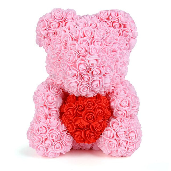 40cm Pink w/Red Heart - Rose Bears Inc