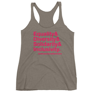 Equality, Diversity, Solidarity, Inclusivity Women's Racerback Tank