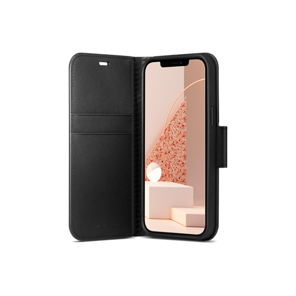 Calin Saffiano Black for iPhone 12 / 12 Pro