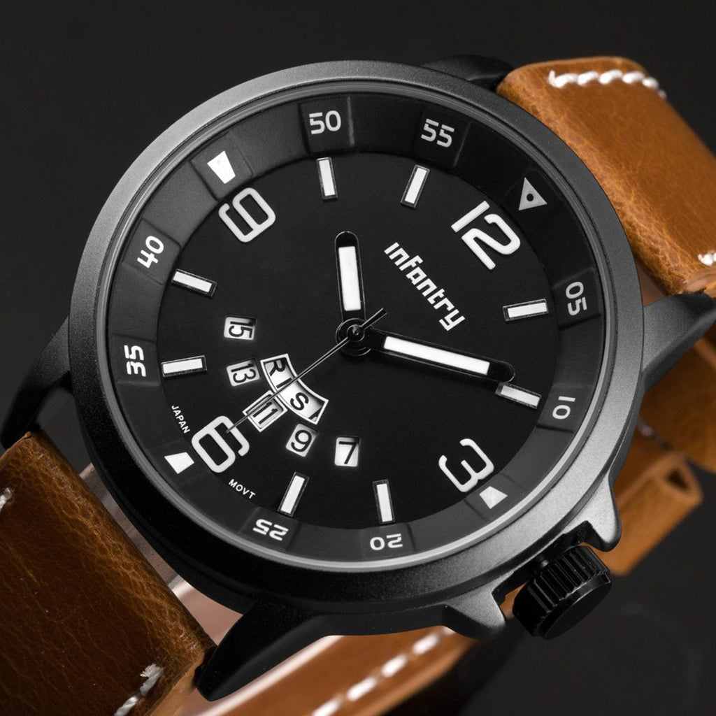 Infantry Military Leather Watch