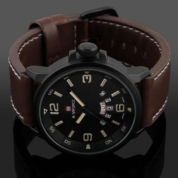 Naviforce Tactical Leather Strap Watch