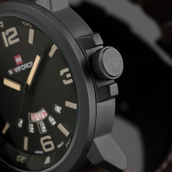 Genuine Naviforce Tactical Leather Strap Watch