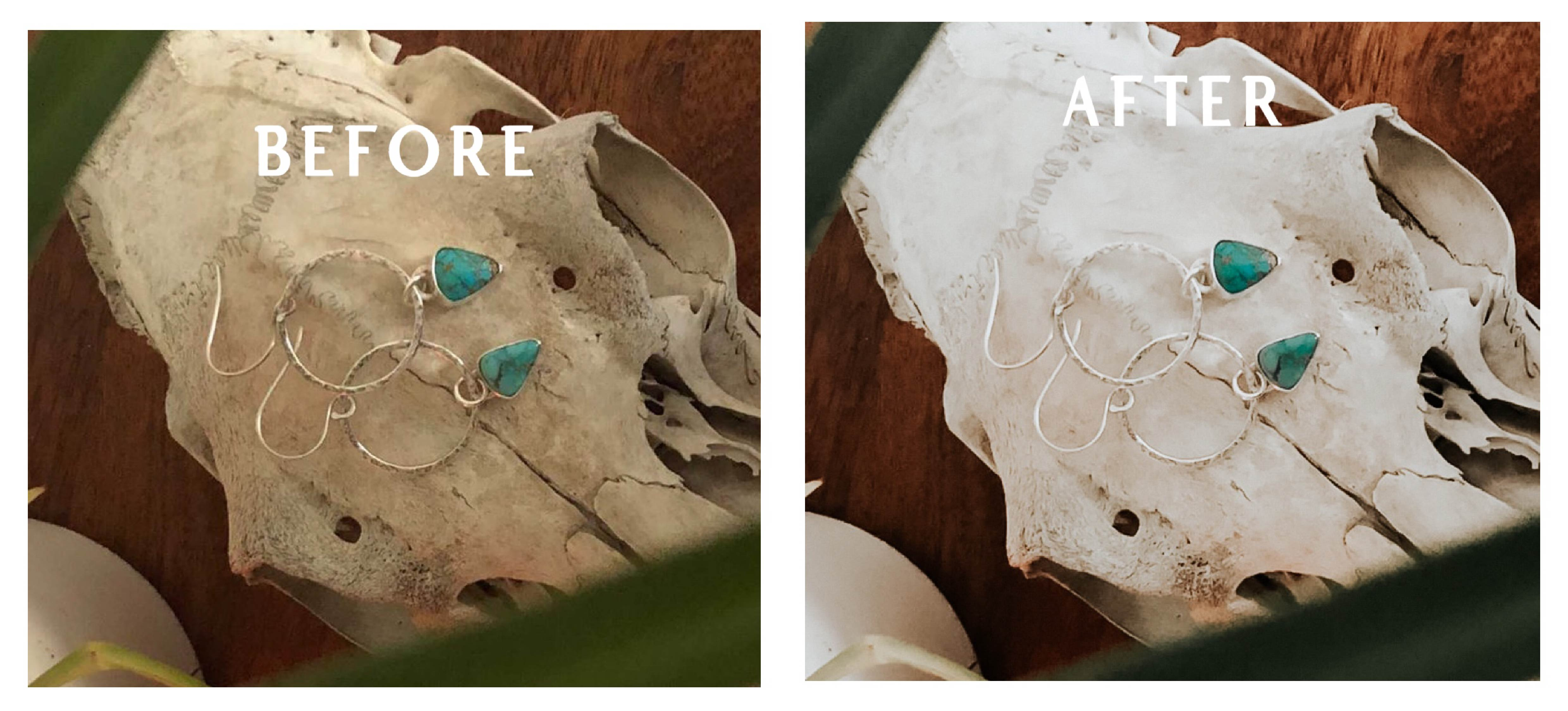 Product photo editing before and after example
