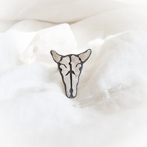Cow Skull with Horns Ring - Size 8 - Third Hand Silversmith