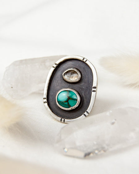 Framed Jewel Beetle Ring - Size 8.5 - Third Hand Silversmith