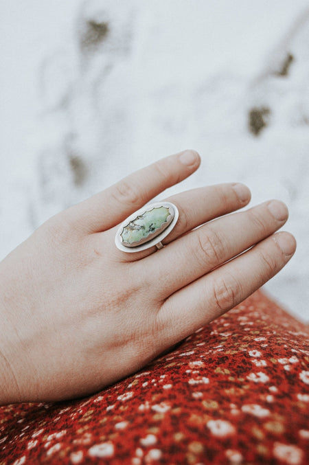 Icepond Turquoise Ring - Size 6.5 - Third Hand Silversmith handmade jewelry, Bozeman, Montana