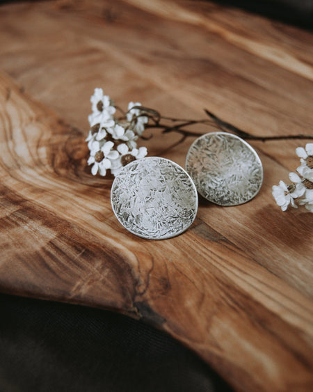 Large Full Moon Statement Stud Earrings - Third Hand Silversmith handmade jewelry, Bozeman, Montana
