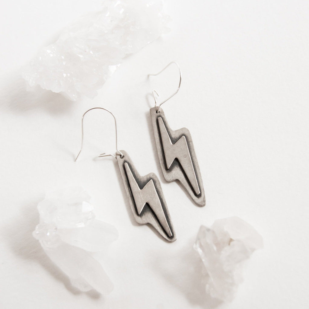 Lightning Bolt Dangle Earrings - Third Hand Silversmith