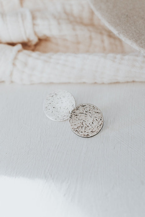 Medium Full Moon Stud Earrings - Third Hand Silversmith handmade jewelry, Bozeman, Montana