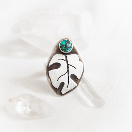 Monstera Ring with Turquoise - Third Hand Silversmith