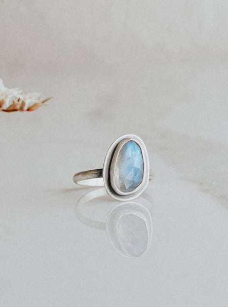 Simple Rainbow Moonstone Ring - Size 7 - Third Hand Silversmith handmade jewelry, Bozeman, Montana