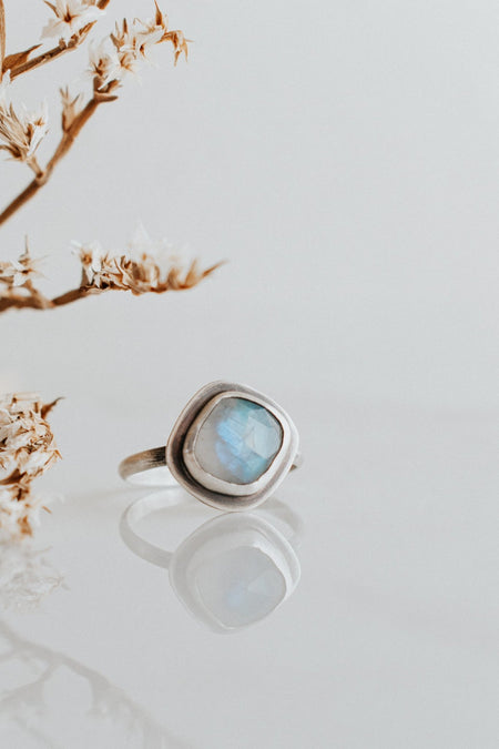 Simple Rainbow Moonstone Ring - Size 8 - Third Hand Silversmith handmade jewelry, Bozeman, Montana