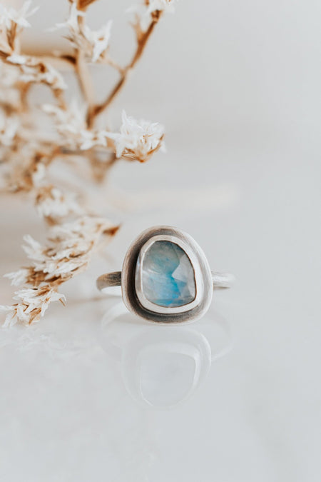 Simple Rainbow Moonstone Ring - Size 9 - Third Hand Silversmith handmade jewelry, Bozeman, Montana