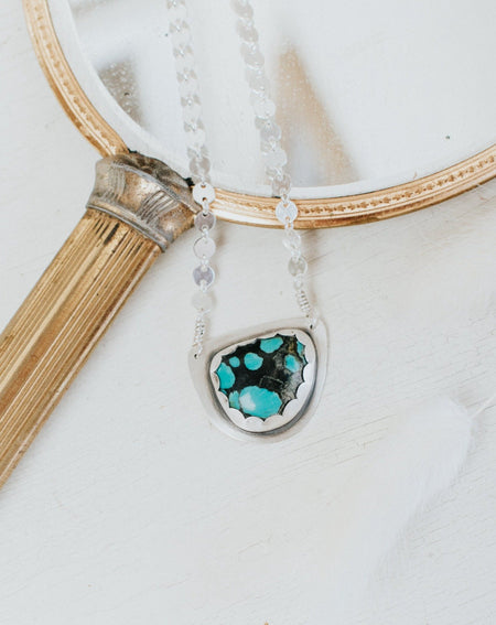Simple Turquoise Necklace Style B - Third Hand Silversmith handmade jewelry, Bozeman, Montana