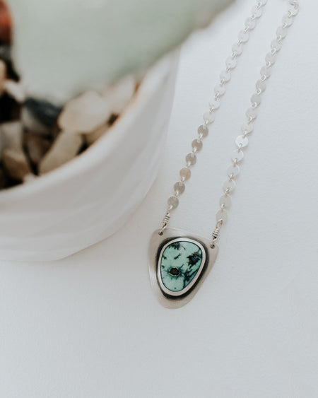 Simple Turquoise Necklace Style C - Third Hand Silversmith handmade jewelry, Bozeman, Montana