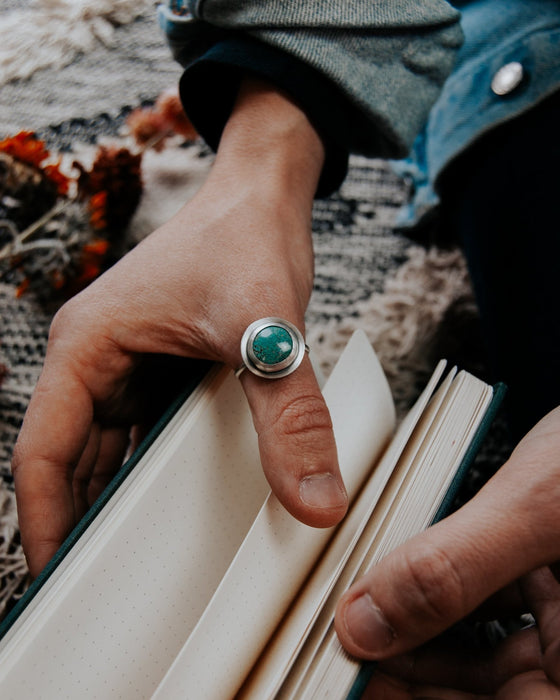 Simple Turquoise Ring - Size 12 - Third Hand Silversmith handmade jewelry, Bozeman, Montana