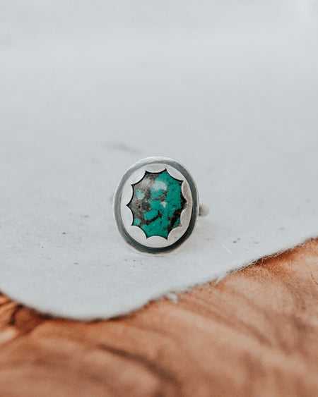 Simple Turquoise Ring - Size 4.5 - Third Hand Silversmith handmade jewelry, Bozeman, Montana