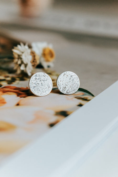 Small Full Moon Stud Earrings - Third Hand Silversmith handmade jewelry, Bozeman, Montana