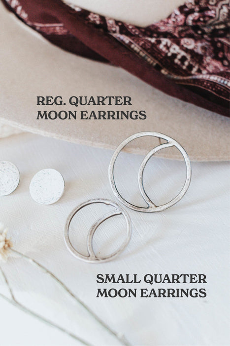 Small Quarter Moon Stud Earrings - Third Hand Silversmith handmade jewelry, Bozeman, Montana