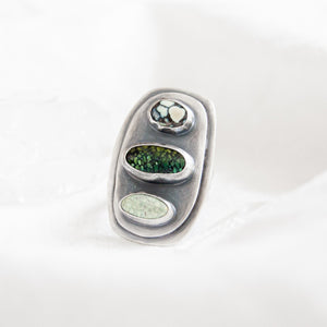 Triple Stone Statement Ring - Size 8 - Third Hand Silversmith