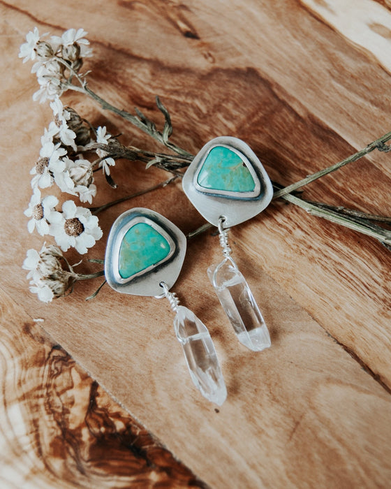 Turquoise and Quartz Stud Earrings - Third Hand Silversmith