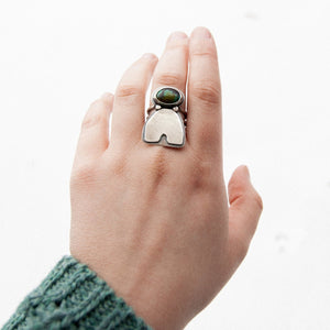 Turquoise Arc Statement Ring - Size 7.5 - Third Hand Silversmith