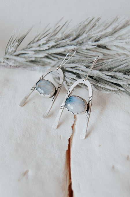 Under the Stars Moonstone Dangle Earrings - Third Hand Silversmith handmade jewelry, Bozeman, Montana