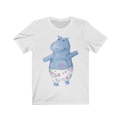 Waving Hippo in Beach Shorts - T-shirt - Mind Bend Apparel