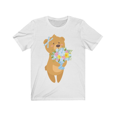 Teddy Bear Offering Flowers - T-shirt - Mind Bend Apparel