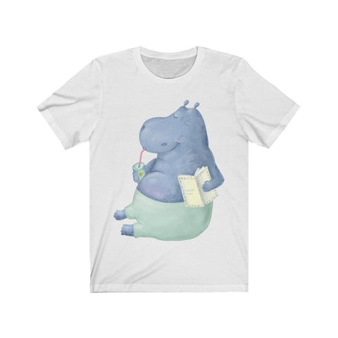 Chill Hippo Reading Outside - T-shirt - Mind Bend Apparel