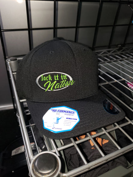 Black With Neon Green Logo Flex Fit Hat