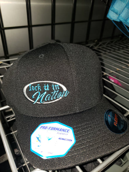 Black With Neon Blue Logo Flex Fit Hat