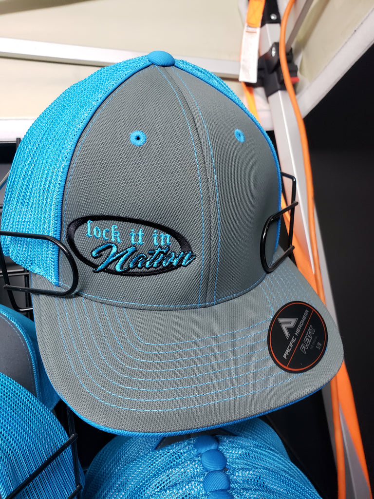 Graphite/Neon Blue Trucker Mesh Hat