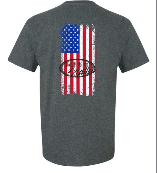 AMERICA T-shirt - Heathered Grey/Color Flag