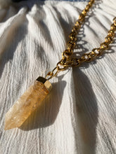 "Load image into Gallery viewer, Twin Flame Soul Chain with Citrine Quartz 27""L - Crystal 1.75L - Ola Wyola"