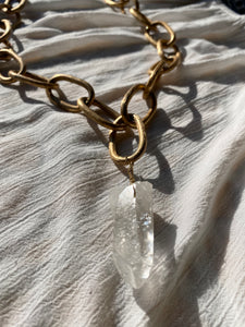 "XXL Brushed Golden Chain Necklace with Chunky Clear Quartz Crystal - 28""L Crystal 2""L - Ola Wyola"