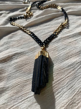 "Load image into Gallery viewer, Gold and Black Soul Chain Necklace with XXL Tourmaline 38""L Crystal 2.5""L - Ola Wyola"