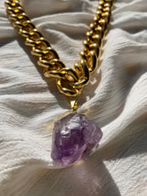 "Load image into Gallery viewer, XXL Chunky Gold Chain Necklace with XL Amethyst Crystal 30""L Crystal 1.5""L - Ola Wyola"