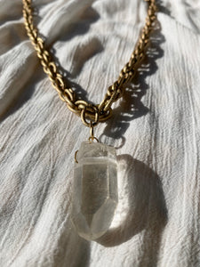 "Golden Textured Soul Chain with Chunky Clear Quartz - 26""L Crystal 2""L - Ola Wyola"